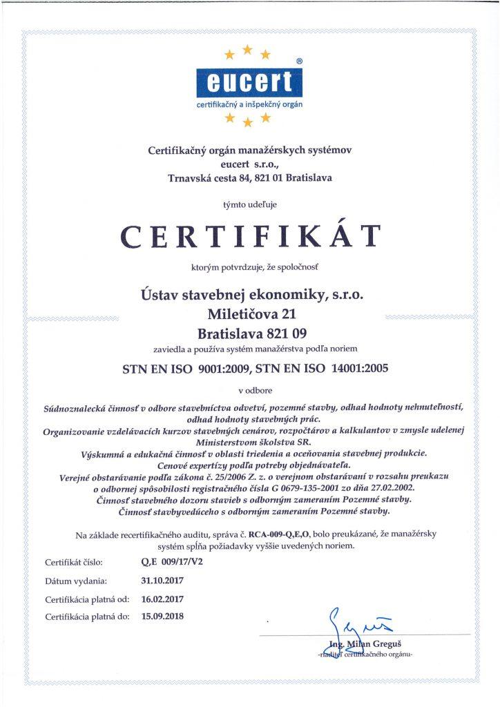 Certifikáty manažmentu kvality ISO 9001 a ISO 14001