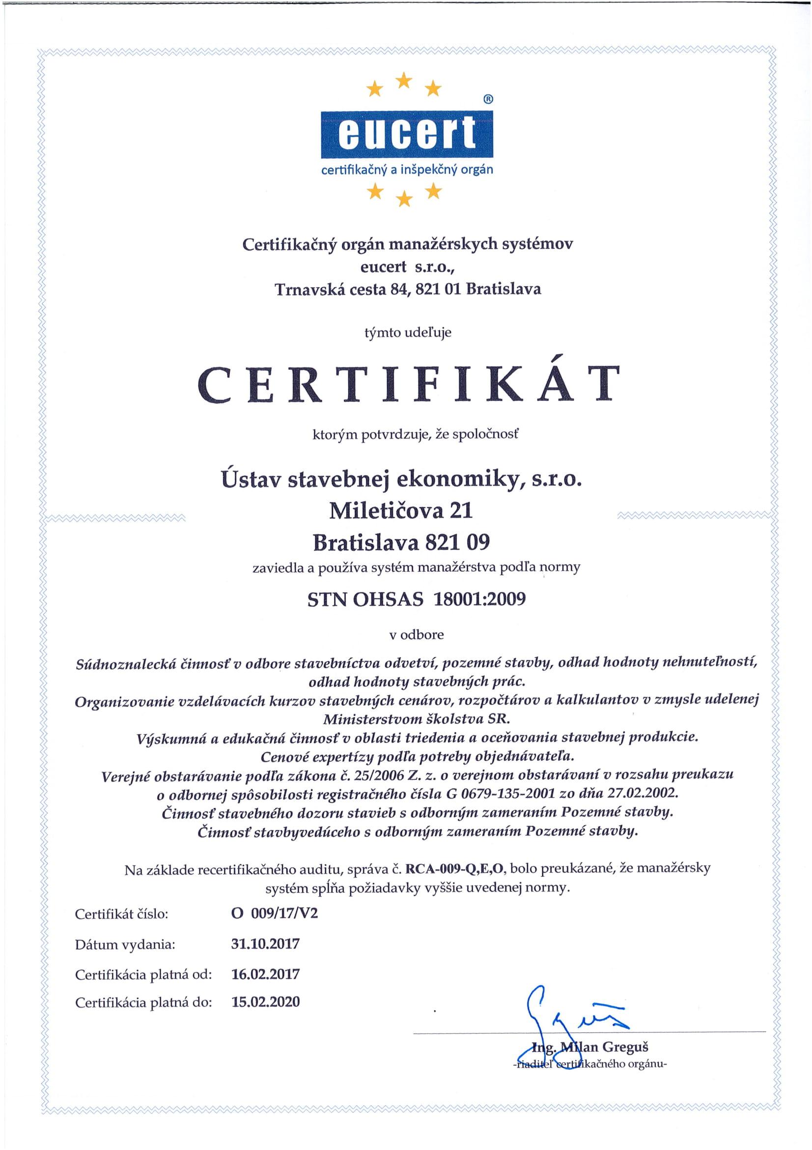 Certifikát manažmentu kvality STN OHSAS 18001:2009