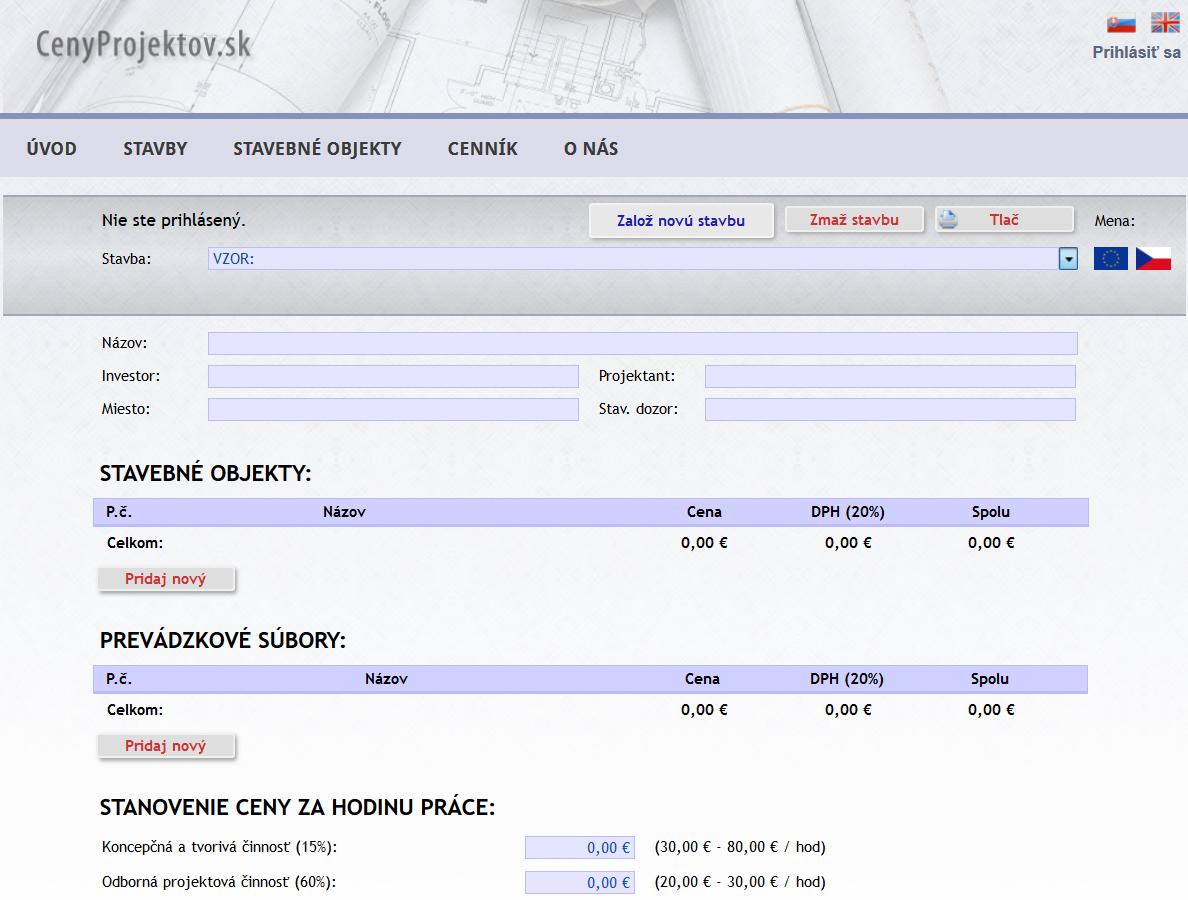 cenyprojektov screenshot